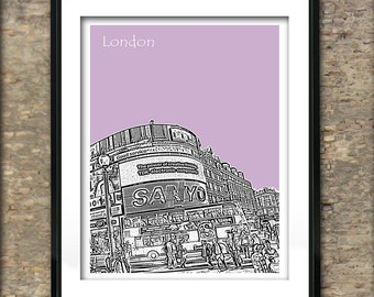 London Art Print Skyline Poster A4 Size Picadilly Circus England