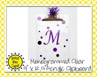 Personalized Acrylic Clipboard, Monogram Acrylic Clipboard, Monogrammed Acrylic Clipboard, Acrylic Clipboard, Polka Dots, Monogrammed Gift