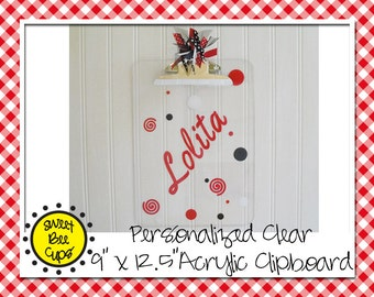 Name-Personalized Clear Acrylic Clipboard spirals, Personalized acrylic clipboard, teacher acrylic clipboard, monogram teacher clipboard