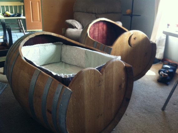 items similar to baby cradle made from a wine barrel wine