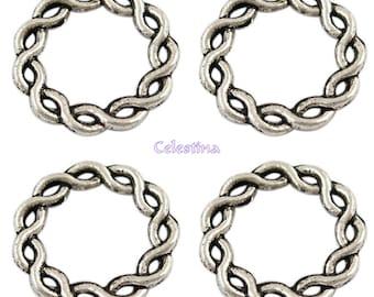 10 x Tibetan Silver Twisted Ring Charms - Circle Hoops / Loops - TS132