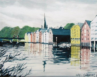 """Watercolor Trondheim Norway Limited Ed. Print  14"""" x 11"""" double matted art, painting, travel"""