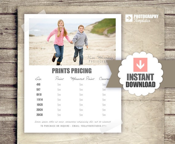 photography price list prints pricing list for photographers. Black Bedroom Furniture Sets. Home Design Ideas