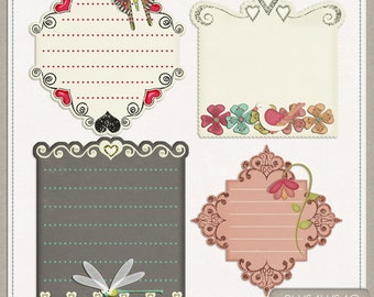 Flutter Digital Scrapbook Tags