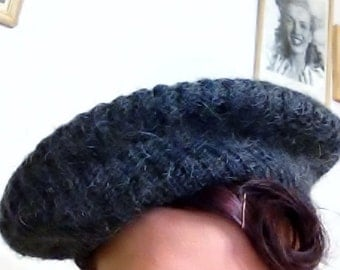 Charcoal Grey Mohair Knit Beret, Vintage 1950's from Everitt