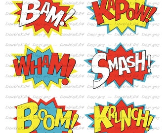 Superhero Sound Effects, Expressions, Bam, KaPow, Wham, Smash, Boom, Krunch