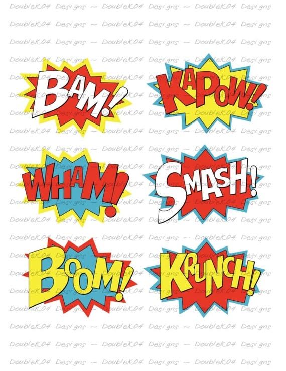 Superhero Sound Effects Expressions Bam KaPow Wham Smash