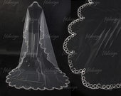 lace veil,  ivory lace veil, lace veil wedding, cheap veil, bridal veil, ivory wedding veil, chantilly lace veil,long lace veil. V0007