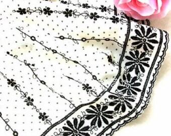 Lace Trim White Chiffon Black Embroidery Trim Fabric Wedding Trim 5.9'' width 1 yard