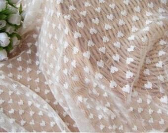 Lace Fabric White Heart Stretchy Wedding Fabric Soft DIY Handmade 55.1'' width 1 yard