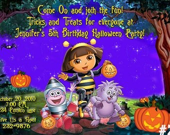 Dora the Explorer Halloween Birthday Invitation -  Costume Party You Print Digital File,  Dora halloween invitation