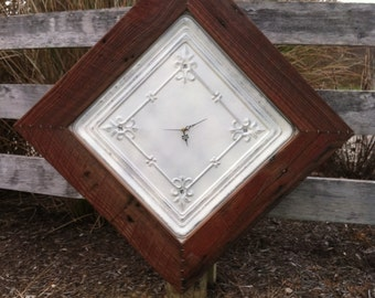 PRICE REDUCED****Large Handmade Antique Tin Ceiling Tile Clock With Salvaged Red Barn Wood Frame