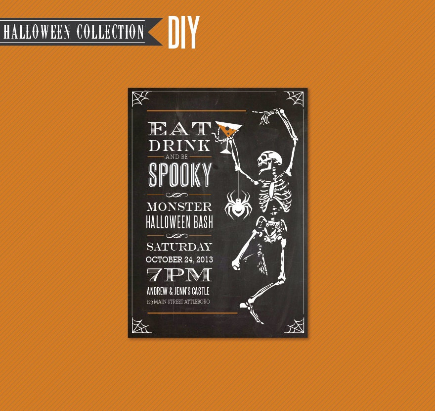 halloween party invitation diy instant by cccdesignsyourstruly