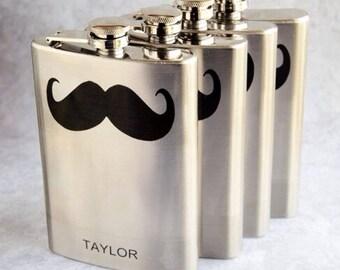 Groomsmen Flask Set with Mustache & Name
