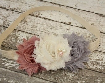 Shabby Mauve, Ivory and Gray Baby Headband, Shabby Chic Fall Headband, Mauve, Ivory and Gray Headband