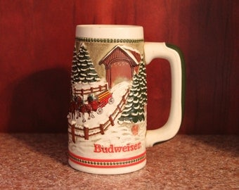 """Budweiser Limited Edition Beer Stein from 1984, """"Covered Bridge"""", CS62 made in Brazil by Ceramarte"""