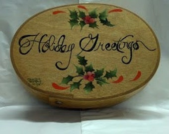 Holiday Decorated Small Oval Slim Bentwood Box