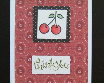 Handmade, stamped, Thank You Card featuring Cherries