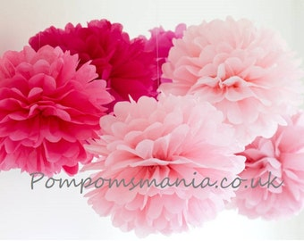 """9 units of 14""""/36 cm. length tissue paper pom poms - handmade - 100% recyclable - any colours from our pallet"""
