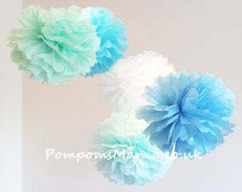 22 units (10+6+6) of  tissue paper pom poms - handmade - 100% recyclable - fits any style of decor