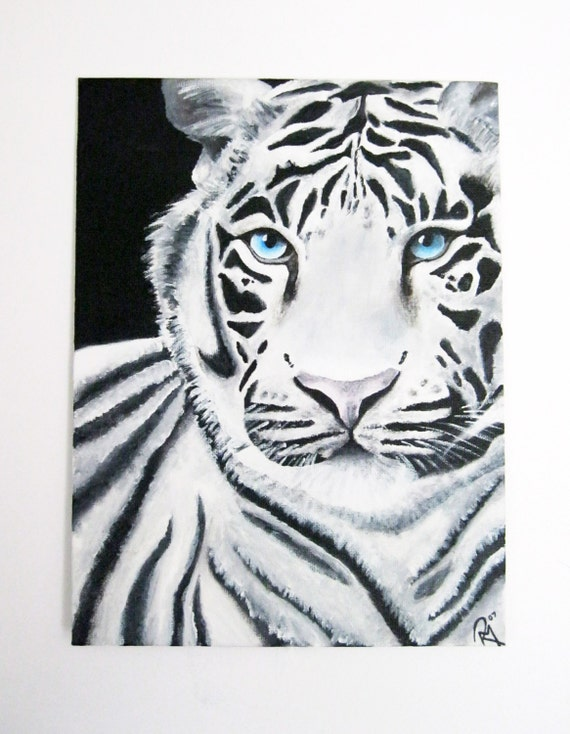 SALE Exclusive White Tiger Acrylic Painting. Size 23cmX30cm