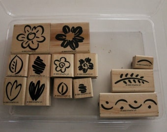 Fanciful Flowers Two-Step Stampin' Retired Stampin' Up! Wood-mounted Rubber Stamp set of 13