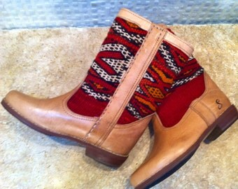 Handcrafted kilim leather boots