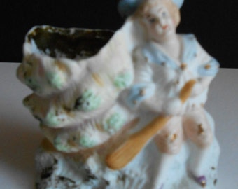 Antique Bisque Porcelain Sailor Figurine with Sea Shell  Vase.