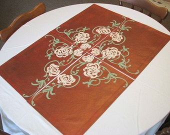 Placemats (4 piece set): Copper with Chrysanthemums
