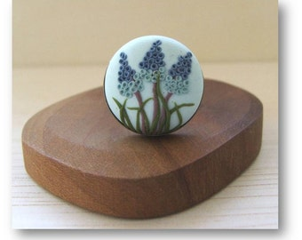 Grape Hyacinth Jewelry- Flower Jewelry- Polymer Clay Jewelry- Grape Hyacinth Ring- Spring flower Ring- Blue, Green, Brown