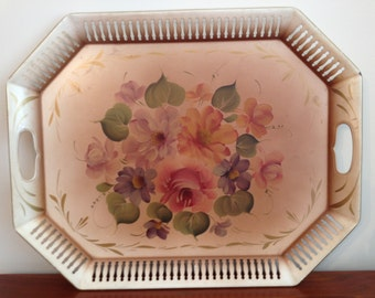 Vintage Hand Painted Toleware Tray