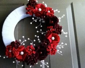 Custom Ribbon and Felt Wreath