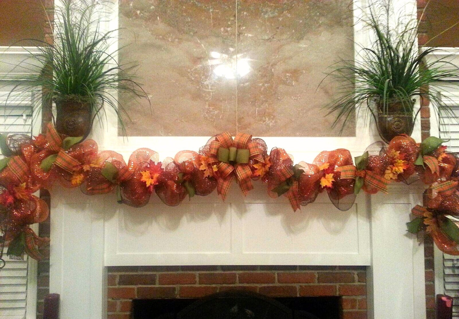 Fall Garland Thanksgiving Garland Fireplace Mantle By
