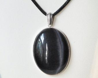 Black Cats Eye Pendant Necklace
