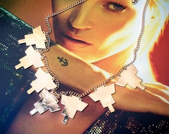 Modern Pyramid Charm Necklace with Gold Chains