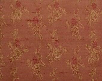 "Rust Floral Silk Jacquard 100% Silk Dupioni Fabric 44"" Wide By the Yard (JD-309)"