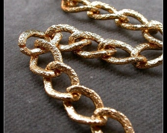 4 ft  large chain huge gold chain Gold Chunky Knurled Curb Chain  one foot engraved gold chain