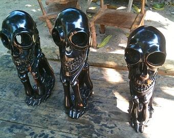 """hand carved African Blackwood """"Tete de mort"""" human skull"""