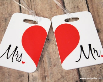 Personalized Set of Mr. and Mrs. Luggage Tags - Double Sided- Wedding-Bridal Shower-Bride-Newlywed-Honeymoon-Bride luggage tag