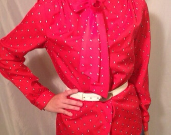 1970's Vintage Red Secretary Blouse with Ascot/Bow Tie and White Raindrops Design