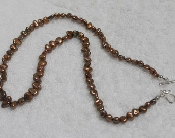 "One 18.5"" inches Long Copper Keishi Freshwater Pearl Necklace NK352"