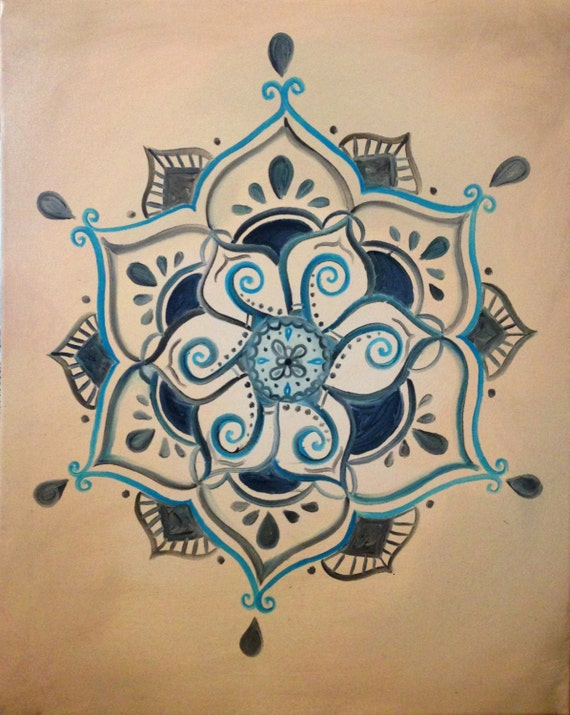 Lotus Flower Henna Designs: Items Similar To Buddhist Henna Inspired Lotus Painting On