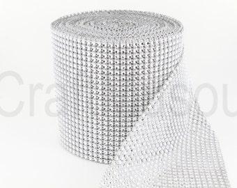 "Silver 4.75""x10 Yards Diamond Sharp Mesh Wrap Roll Sparkle Rhinestone Crystal Ribbon"