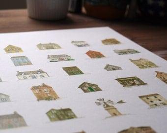 Houses Illustration A3 Print