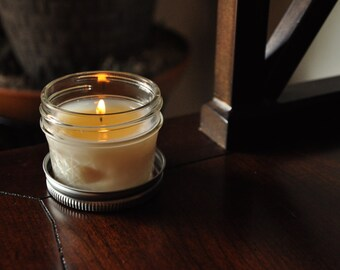 "Handmade 4 oz Soy Candle in mini Mason Jar - ""Fresh Outdoors"" Scent"