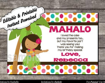 Luau Thank You Card Birthday Party - Editable Printable Digital File with Instant Download