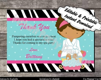 Spa Thank You Card Birthday Party - Editable Printable Digital File with Instant Download