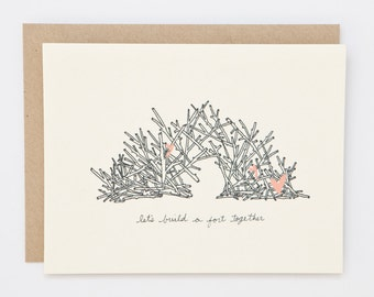 Let's Build a Fort Together - Hand Illustrated Love Card