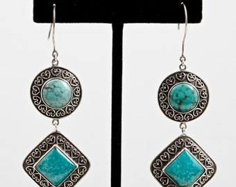 Turquoise 084 - Earrings - Sterling Silver & Turquoise