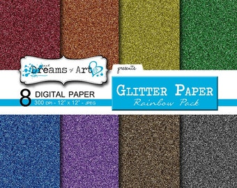 8 Digital Glitter Paper (Rainbow Pack)